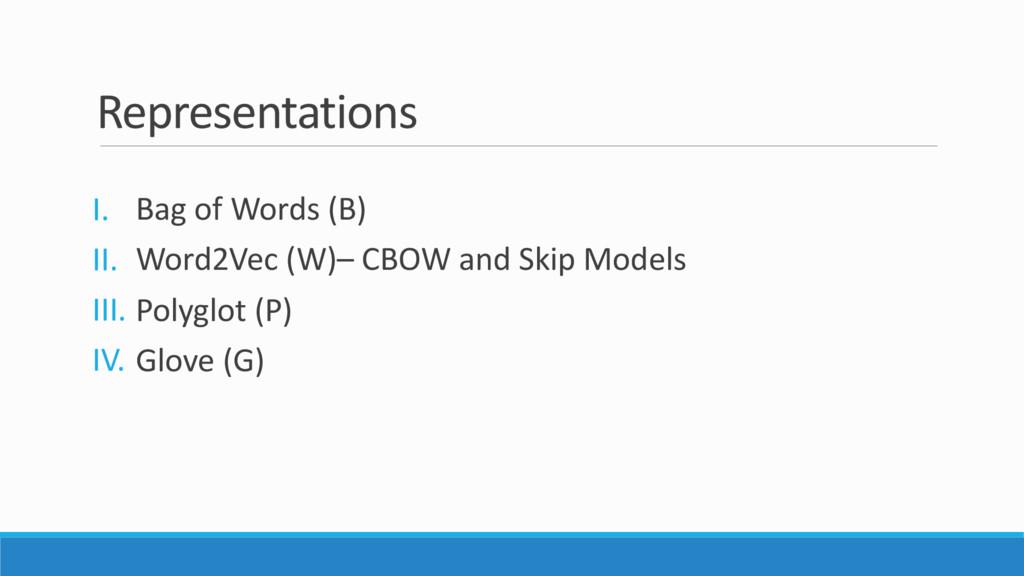 Representations I. Bag of Words (B) II. Word2Ve...