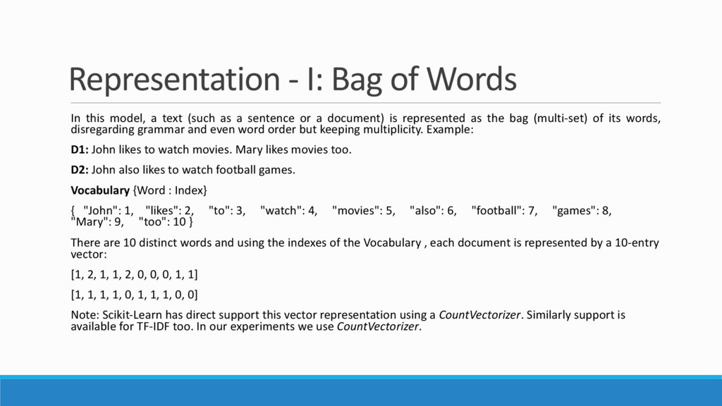 Representation - I: Bag of Words In this model,...
