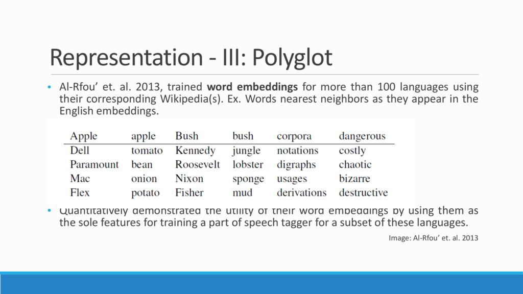Representation - III: Polyglot • Al-Rfou' et. a...