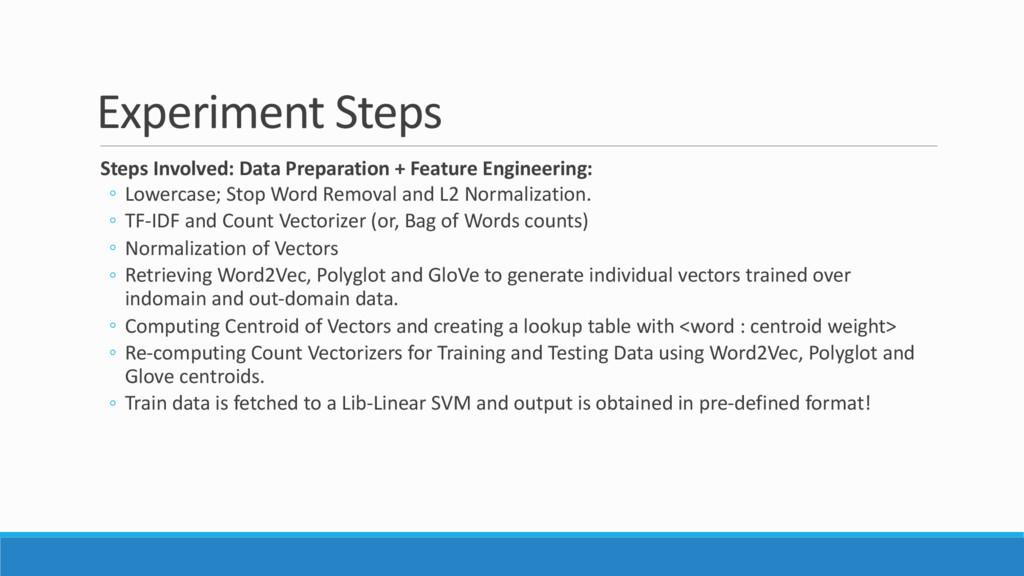 Experiment Steps Steps Involved: Data Preparati...