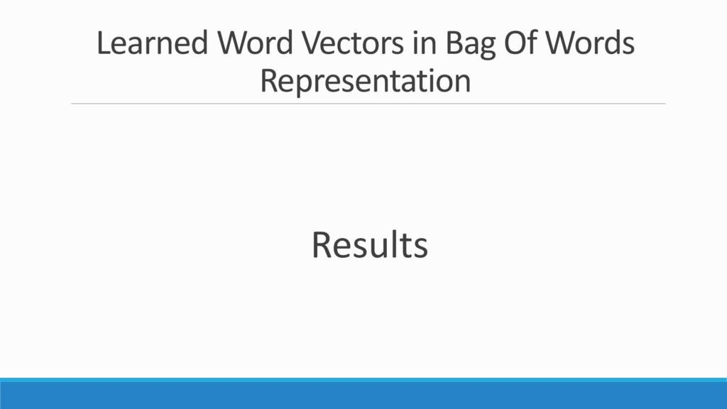 Learned Word Vectors in Bag Of Words Representa...