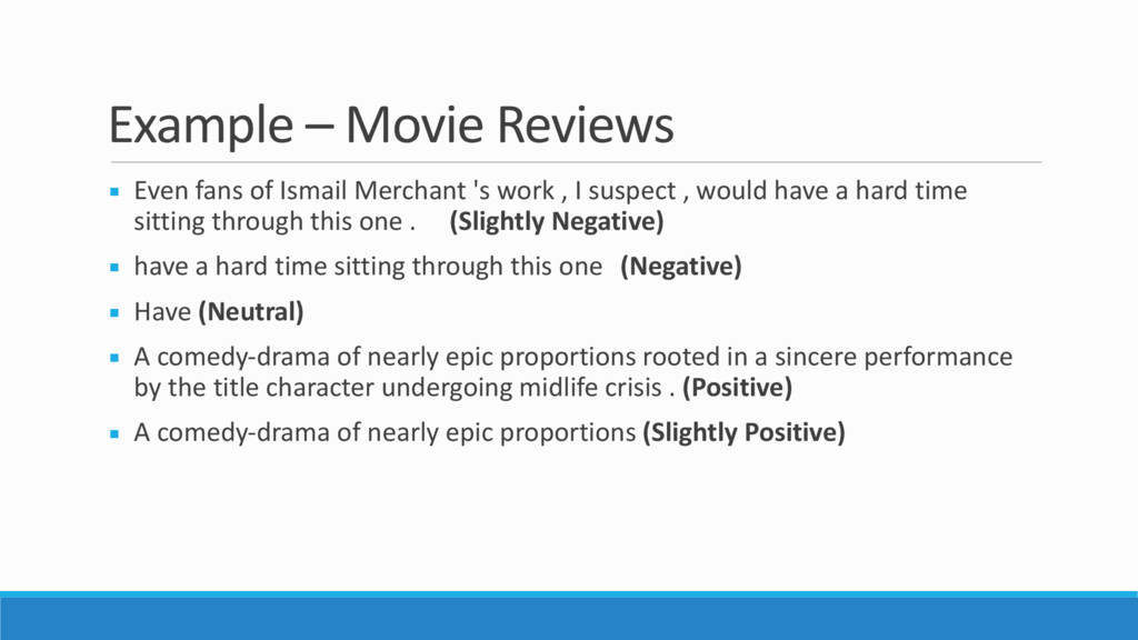 Example – Movie Reviews ▪ Even fans of Ismail M...