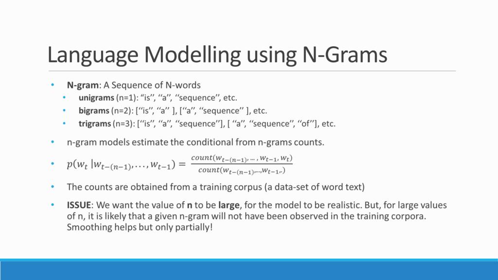 Language Modelling using N-Grams