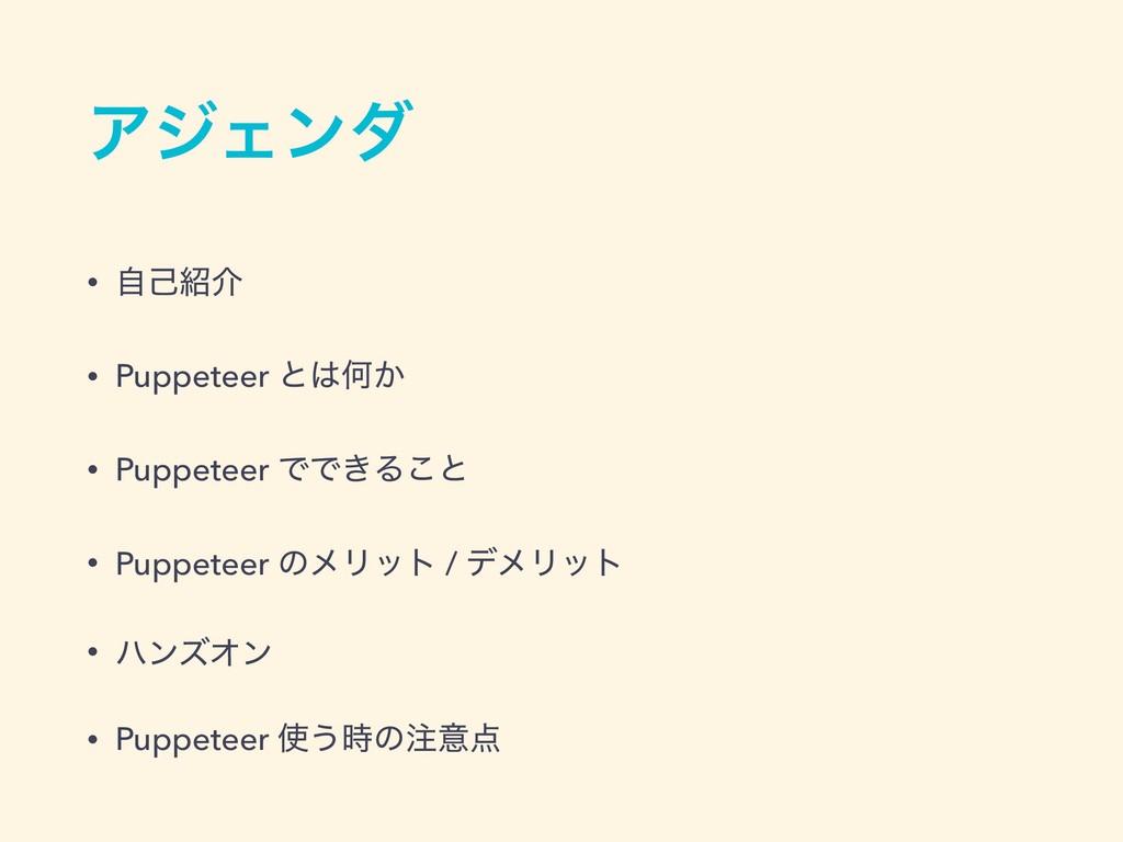 ΞδΣϯμ • ࣗݾհ • Puppeteer ͱԿ͔ • Puppeteer ͰͰ͖Δ͜...