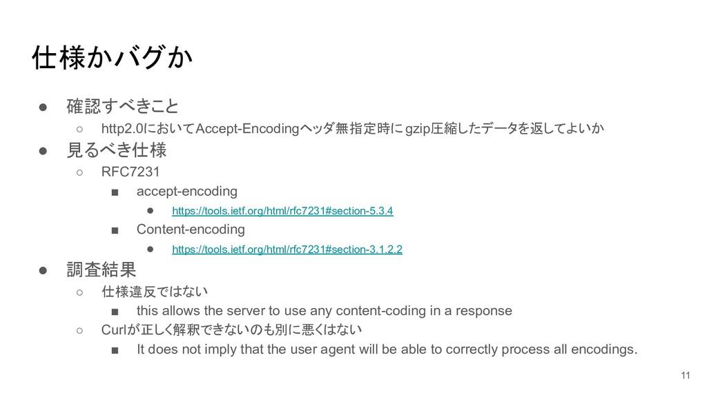仕様かバグか ● 確認すべきこと ○ http2.0においてAccept-Encodingヘッ...