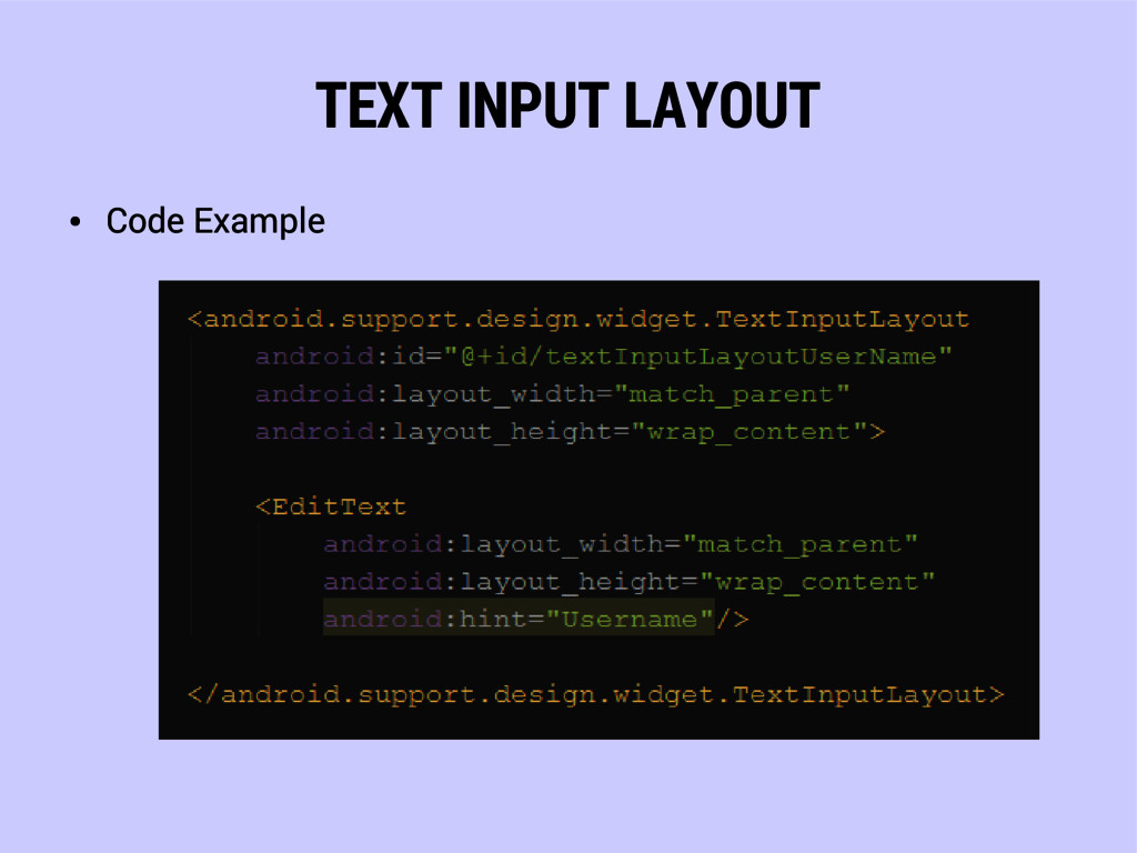 TEXT INPUT LAYOUT ● Code Example