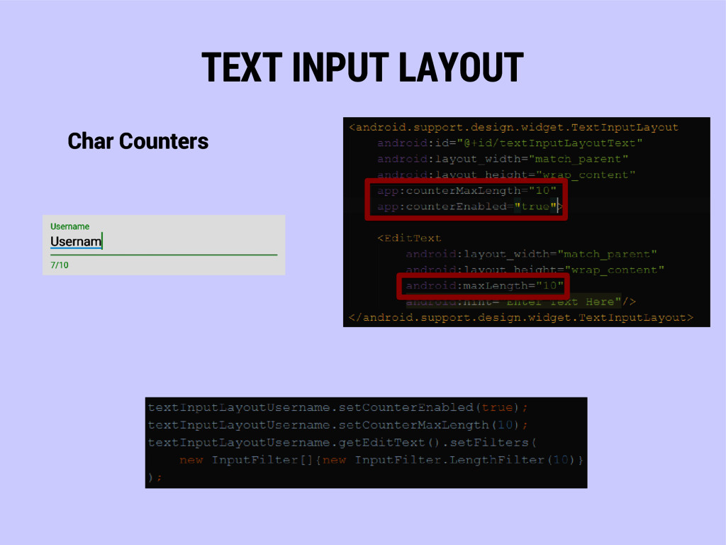 TEXT INPUT LAYOUT Char Counters