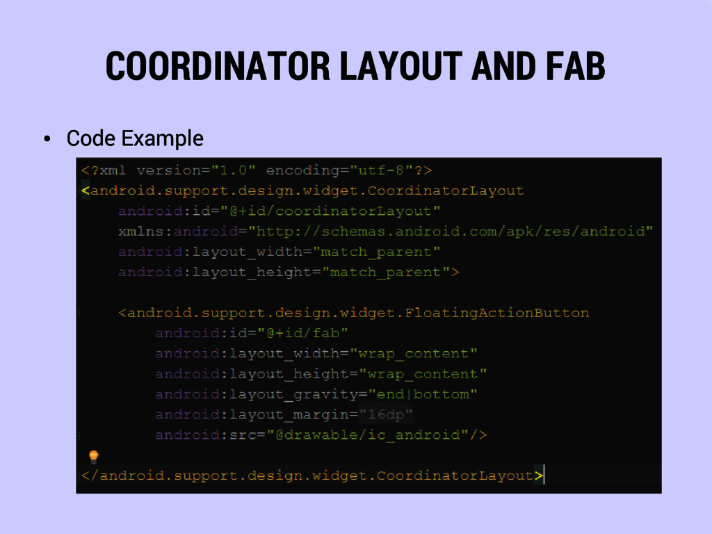 COORDINATOR LAYOUT AND FAB ● Code Example