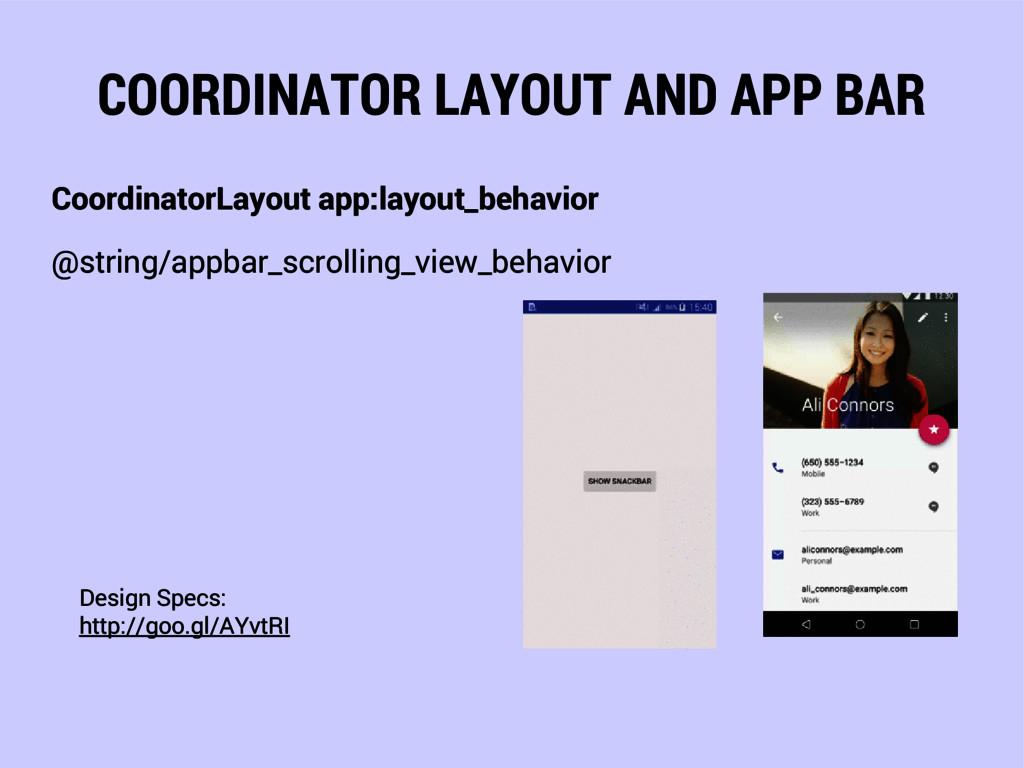 COORDINATOR LAYOUT AND APP BAR CoordinatorLayou...