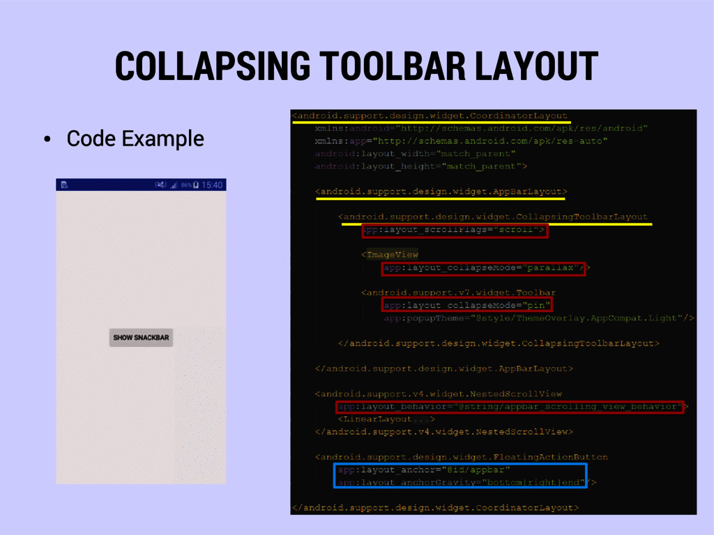 COLLAPSING TOOLBAR LAYOUT ● Code Example