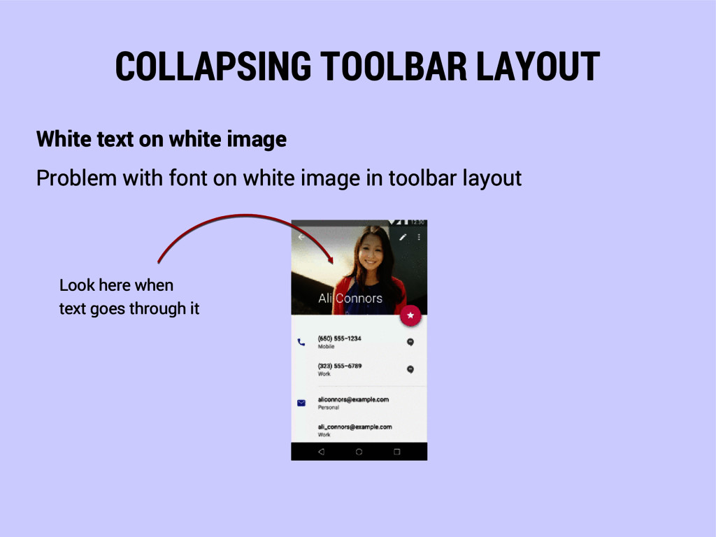 COLLAPSING TOOLBAR LAYOUT White text on white i...