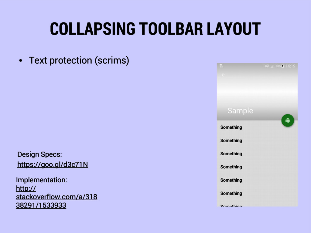 COLLAPSING TOOLBAR LAYOUT ● Text protection (sc...