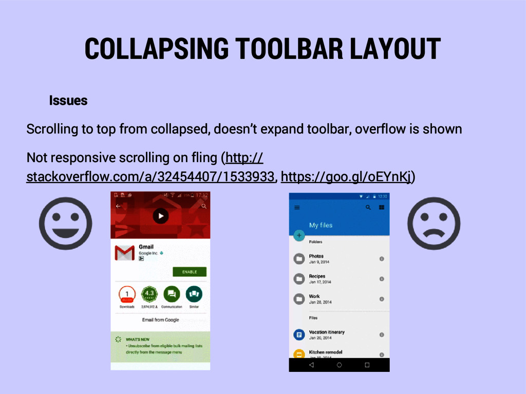 COLLAPSING TOOLBAR LAYOUT Issues Scrolling to t...