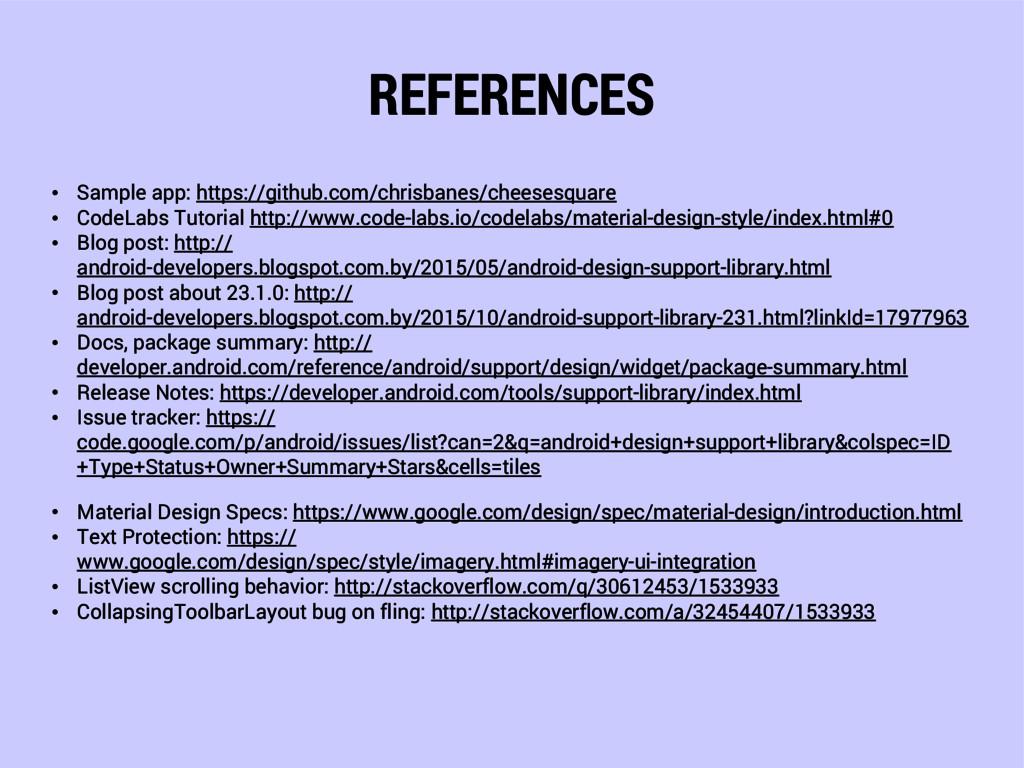 REFERENCES • Sample app: https://github.com/chr...