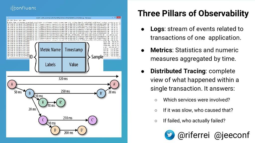 Three Pillars of Observability ● Logs: stream o...