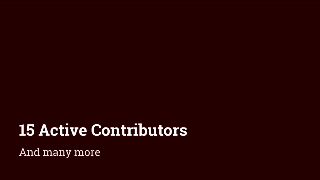 15 Active Contributors And many more