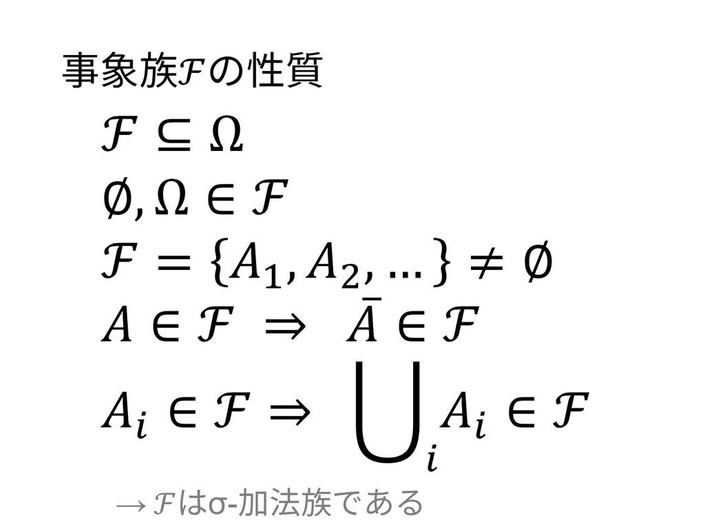 事象族ℱの性質 ℱ ⊆ Ω ∅, Ω ∈ ℱ ℱ = 1 , 2 , … ≠ ∅  ∈ ℱ ⇒...