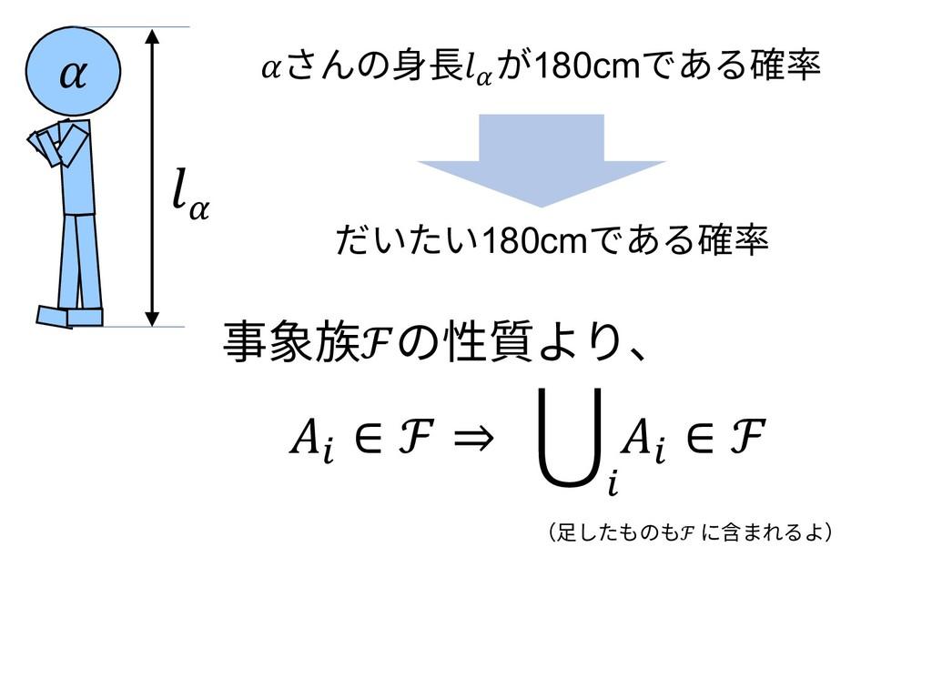 さんの⾝⻑\ が180cmである確率  \ 事象族ℱの性質より、 I ∈ ℱ ⇒ J I ∈ ...
