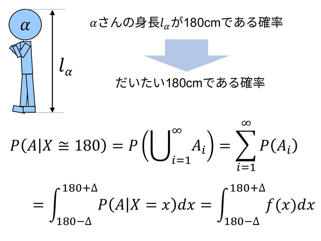 さんの⾝⻑\ が180cmである確率  \    ≅ 180 =  J I e If1 = d...