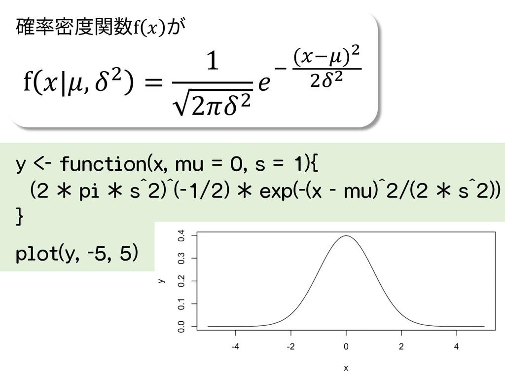 y <- function(x, mu = 0, s = 1){ (2 * pi * s^2)...