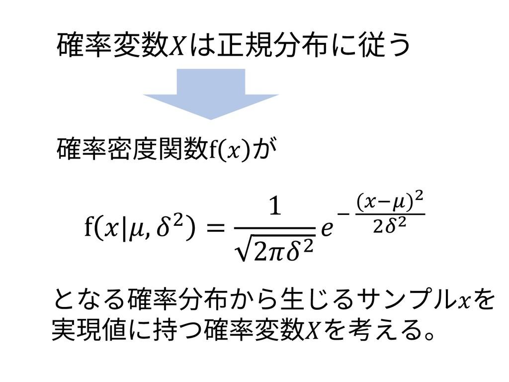 確率変数は正規分布に従う 確率密度関数f  が f  , 2 = 1 22 U (nU )} ...