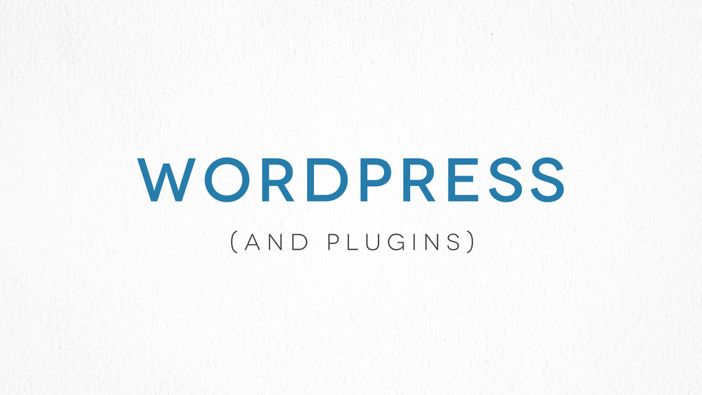 ( a n d p l u g i n s ) WORDPRESS