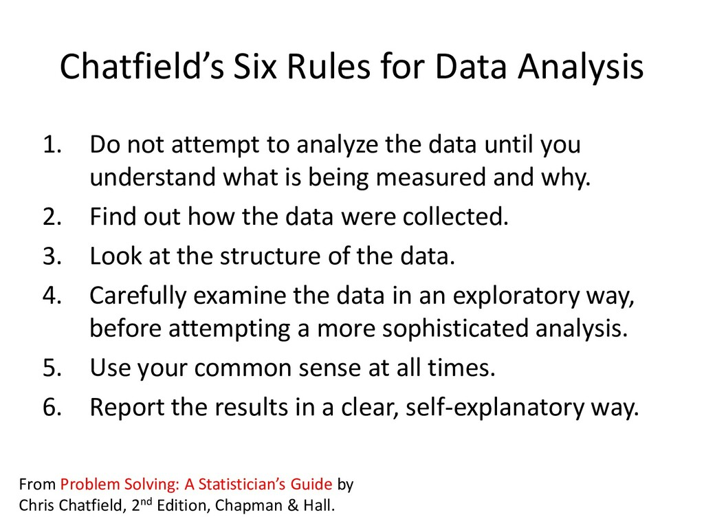 Chatfield's Six Rules for Data Analysis 1. Do n...