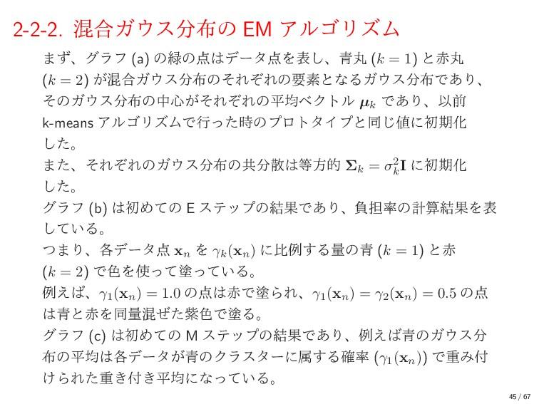 2-2-2. ࠞ߹Ψεͷ EM ΞϧΰϦζϜ ·ͣɺάϥϑ (a) ͷͷσʔλΛ...