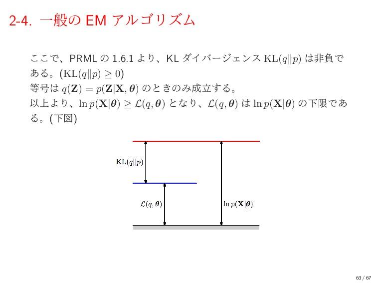 2-4. Ұൠͷ EM ΞϧΰϦζϜ ͜͜ͰɺPRML ͷ 1.6.1 ΑΓɺKL μΠόʔδ...