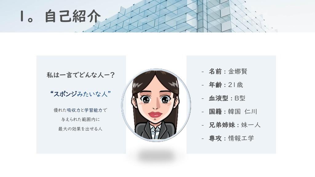 1。 自己紹介 - 名前 : 金娜賢 - 年齢 : 21歳 - 血液型 : B型 - 国籍 :...