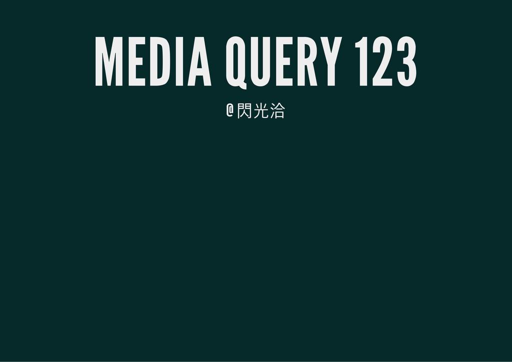 MEDIA QUERY 123 @ 閃光洽