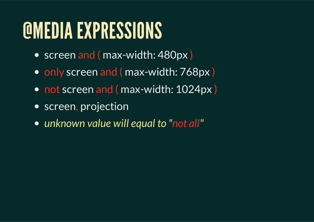 @MEDIA EXPRESSIONS screen and ( max-width: 480p...