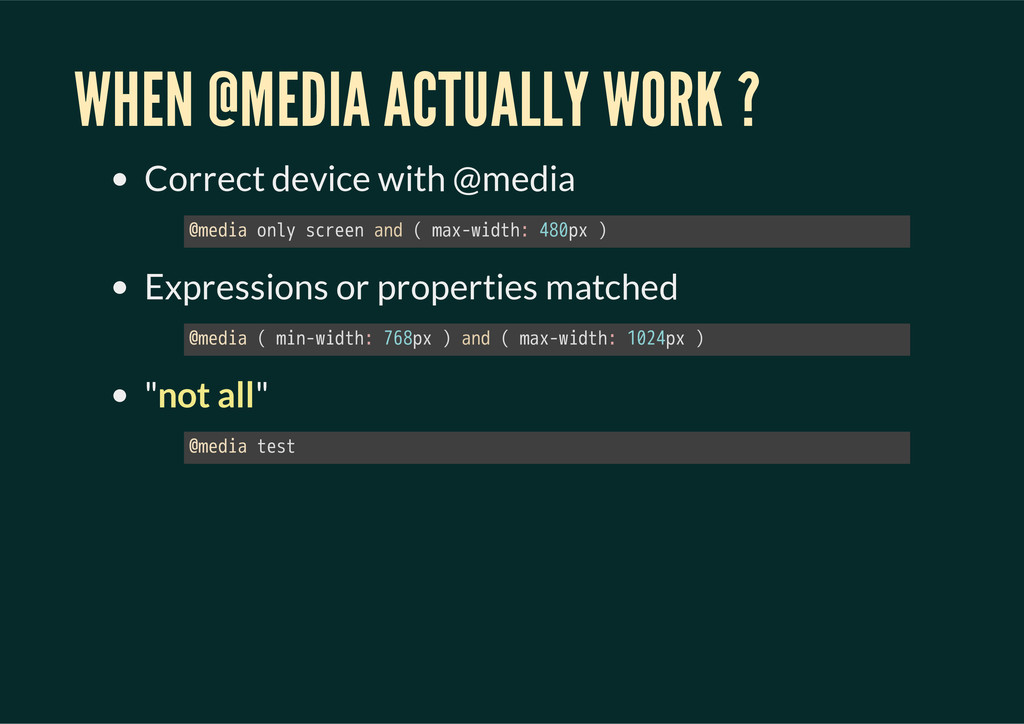 WHEN @MEDIA ACTUALLY WORK ? Correct device with...