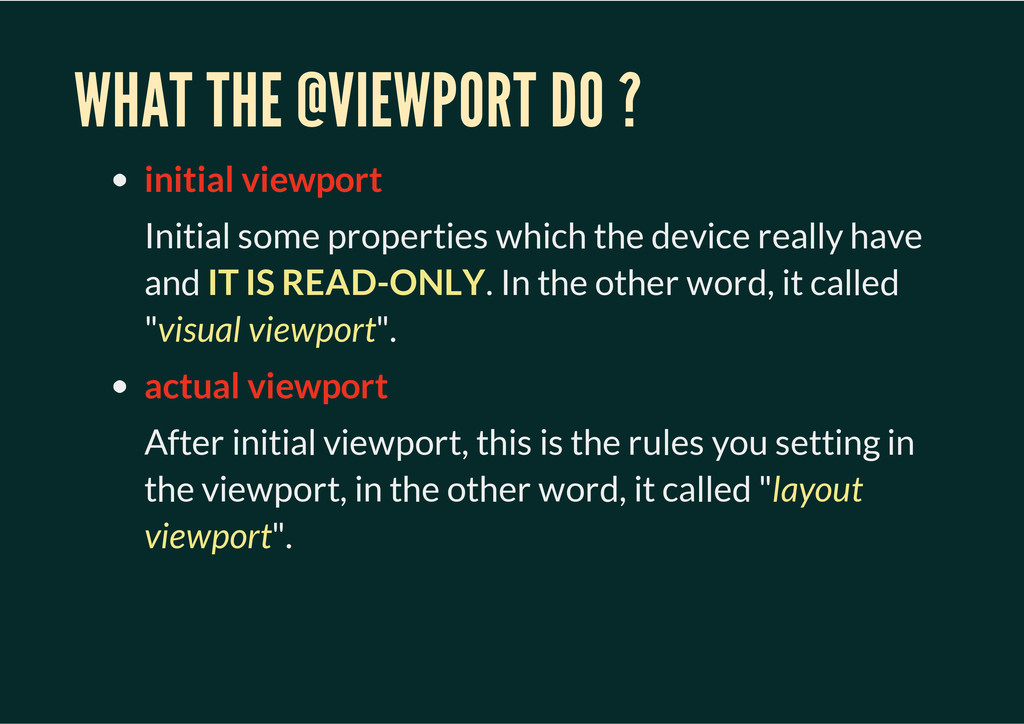 WHAT THE @VIEWPORT DO ? initial viewport Initia...