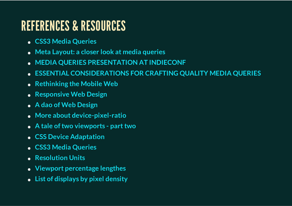 REFERENCES & RESOURCES CSS3 Media Queries Meta ...