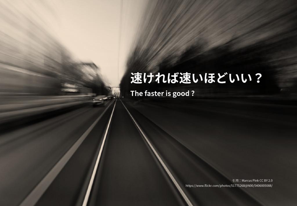 速ければ速いほどいい? The faster is good ? 引用:Marcus Pink...