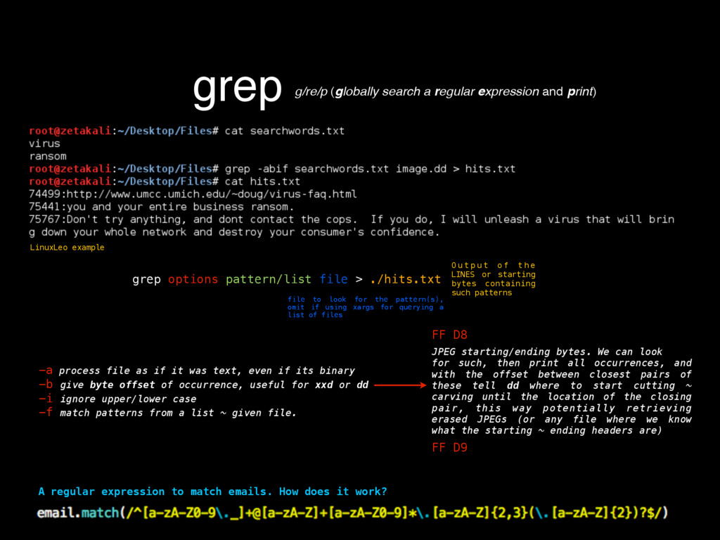 grep g/re/p (globally search a regular expressi...