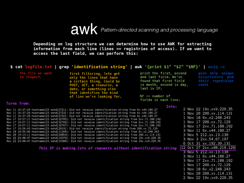 awk Pattern-directed scanning and processing la...