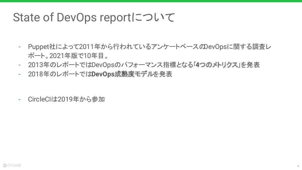 4 State of DevOps reportについて - Puppet社によって2011年...