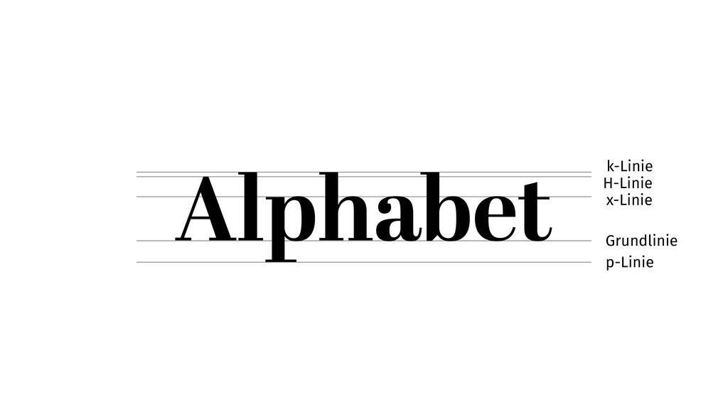 Alphabet p-Linie Grundlinie x-Linie H-Linie k-L...