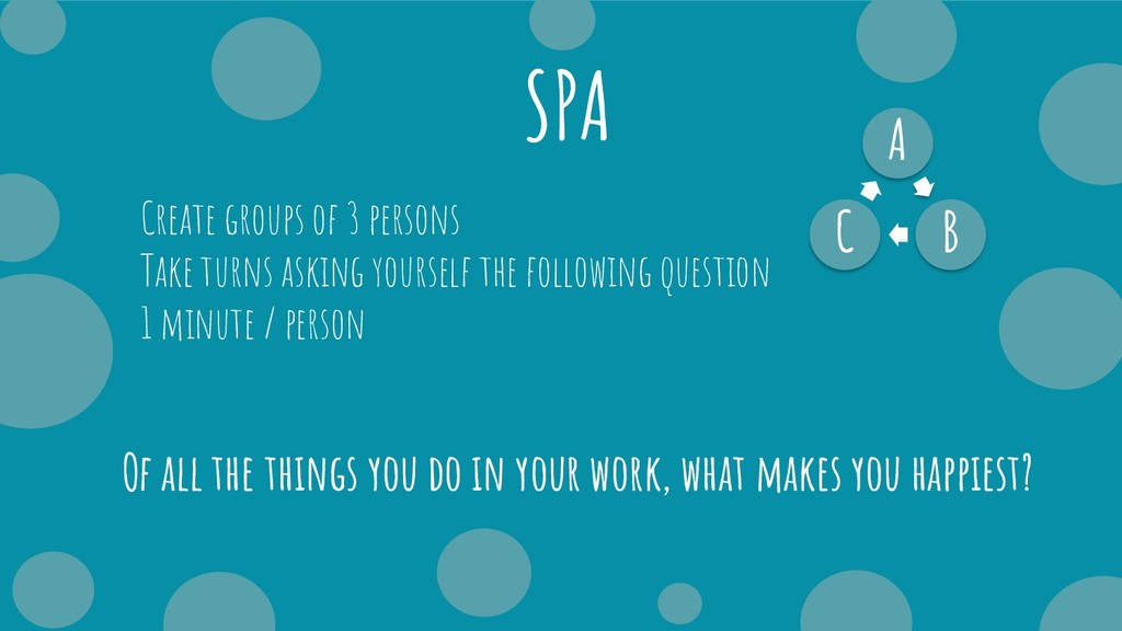 SPA A B C Create groups of 3 persons Take turns...