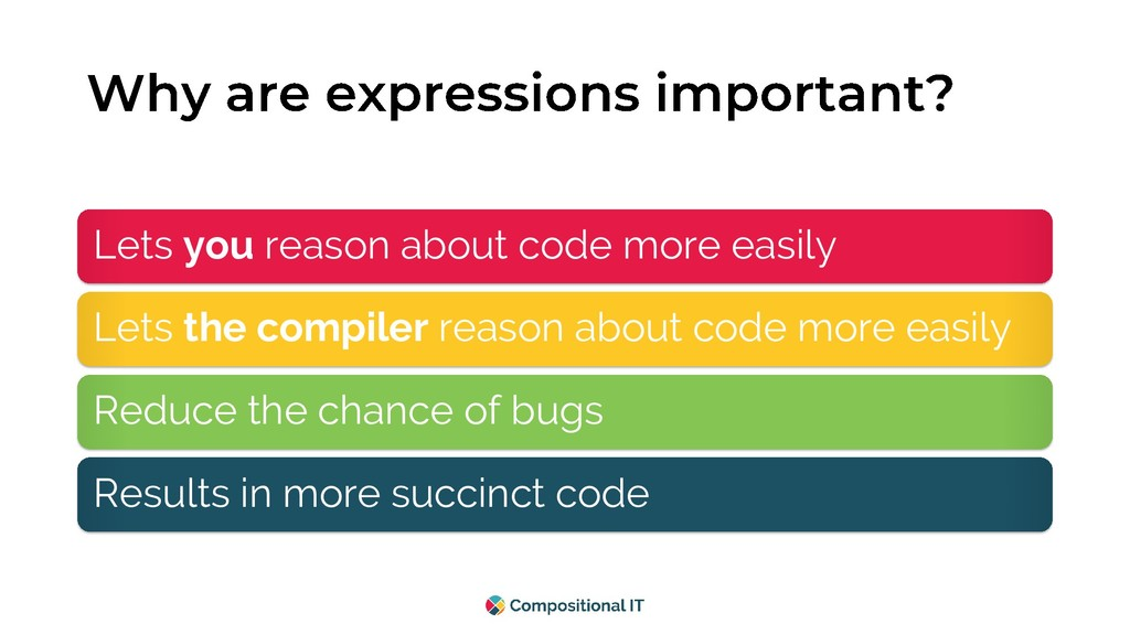 Lets you reason about code more easily Lets the...