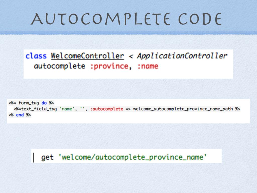 Autocomplete code