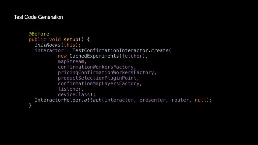 Test Code Generation @Before public void setup(...