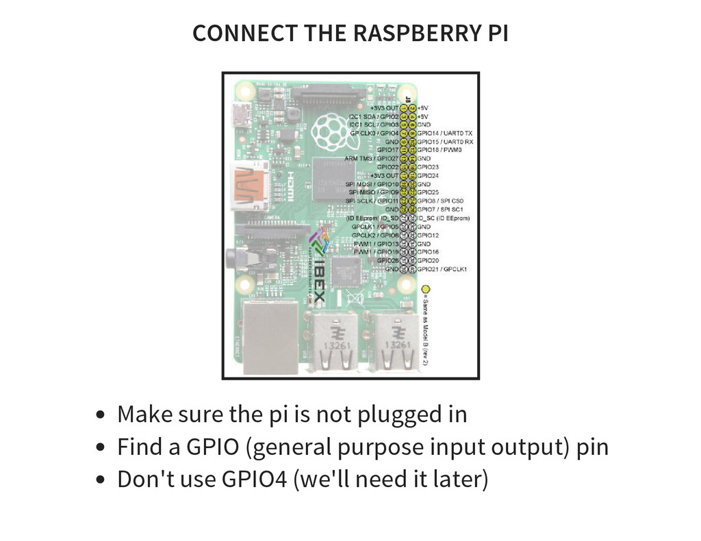 CONNECT THE RASPBERRY PI Make sure the pi is no...