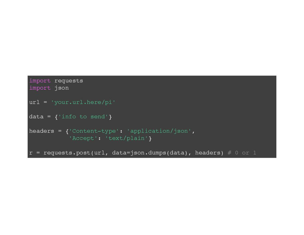 import requests import json url = 'your.url.her...