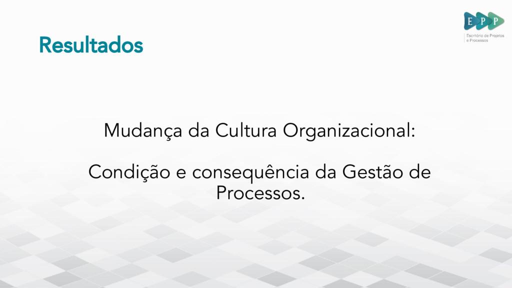 Resultados Mudança da Cultura Organizacional: C...