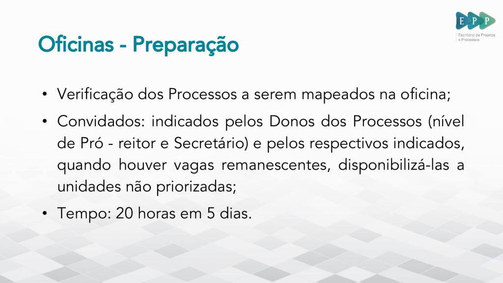 Oficinas - Preparação • Verificação dos Process...