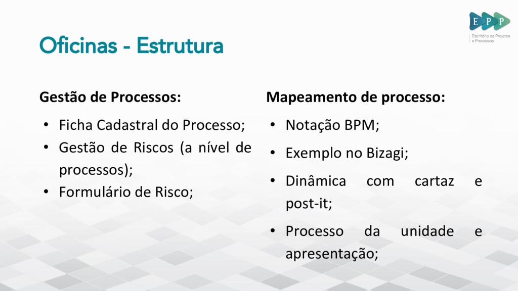 Oficinas - Estrutura Gestão de Processos: • Fic...