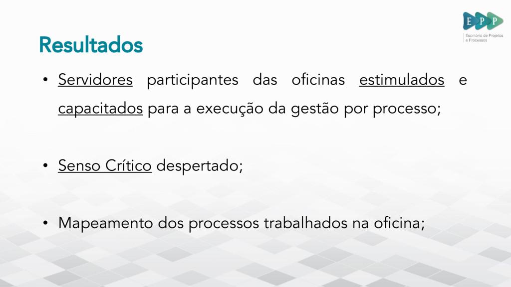 Resultados • Servidores participantes das ofici...